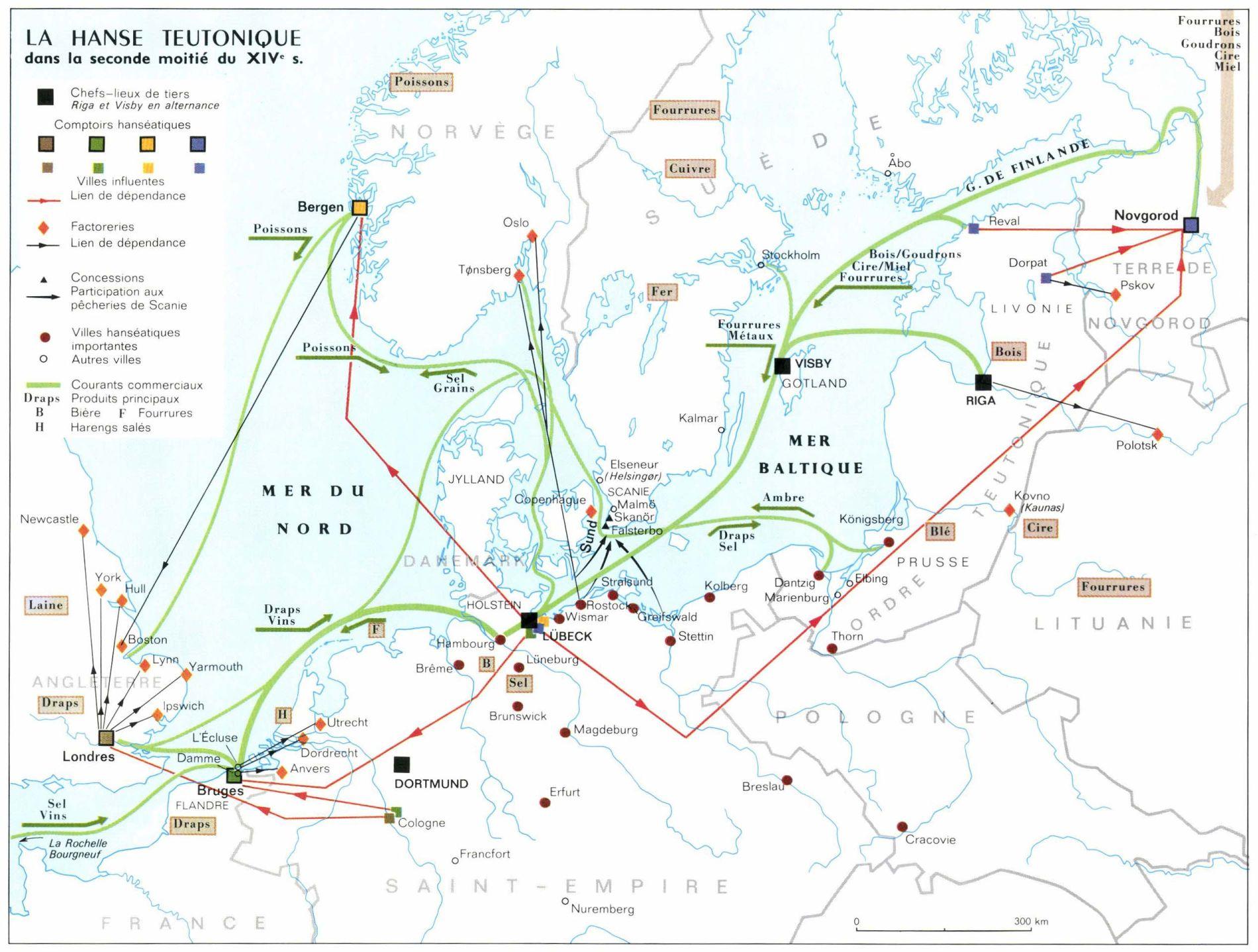 Les routes commerciales en vigueur dans la ligue hanséatique